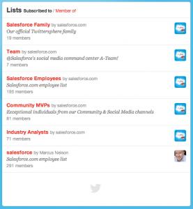 Saleforce Twitter Lists