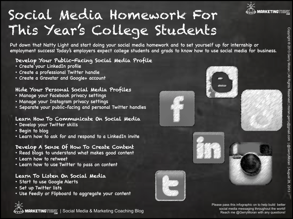 Social Media Homework For College Students
