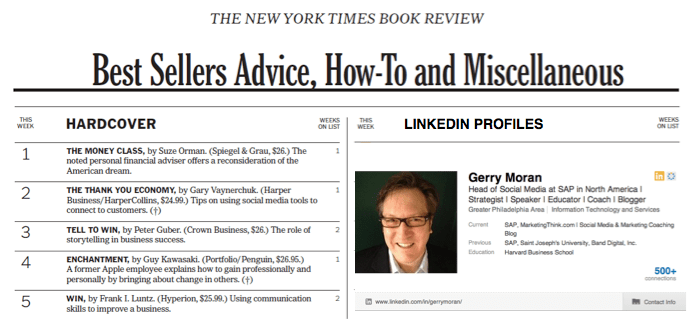 LInkedIn Profiles Are LIke NYT Bestseller Books