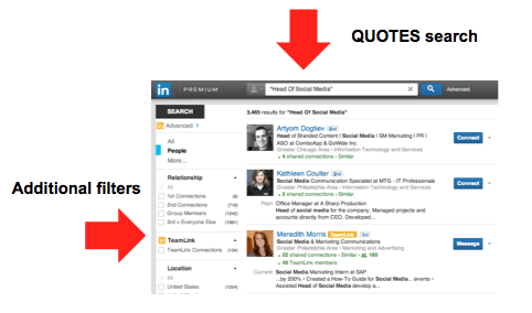 LinkedIn Advanced Search - Quotes