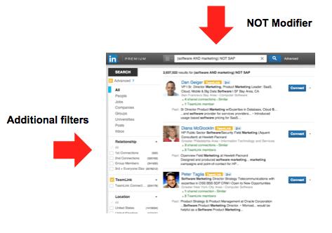 Linkedin Boolean Search - NOT