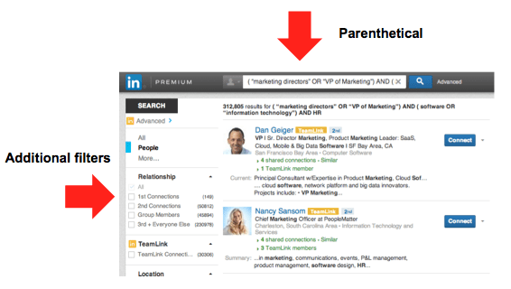 LinkedIn Advanced Search - PARENTHETICAL
