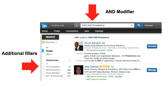 LinkedIn Boolean Search - AND