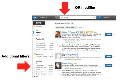 LinkedIn Boolean Search - OR